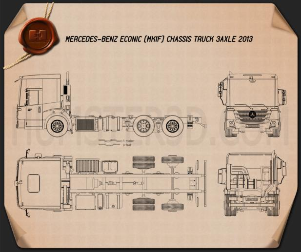 Mercedes-Benz Econic Chassis Truck 3axle 2013 Blueprint
