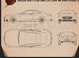 Mercedes-Benz S-Class (C217) coupe AMG Sports Package 2014 Blueprint