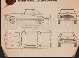 Mercedes-Benz SL-class (W113) 1963 Blueprint