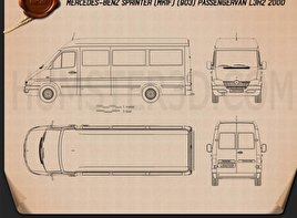 Mercedes-Benz Sprinter (903) Passenger Van L3H2 2000 Blueprint
