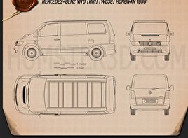Mercedes-Benz Vito (W638) Kombi Van 1996 Blueprint
