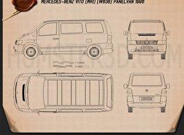 Mercedes-Benz Vito (W638) Panel Van 1996 Blueprint