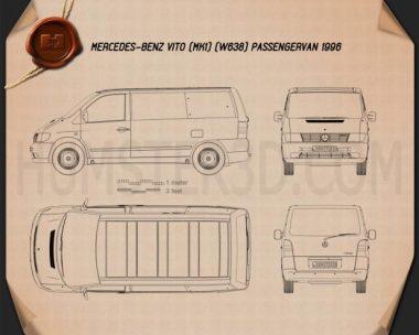 Mercedes-Benz Vito (W638) Passenger Van 1996 Blueprint