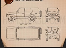 Toyota Land Cruiser (J70) 5-door 1990 Blueprint