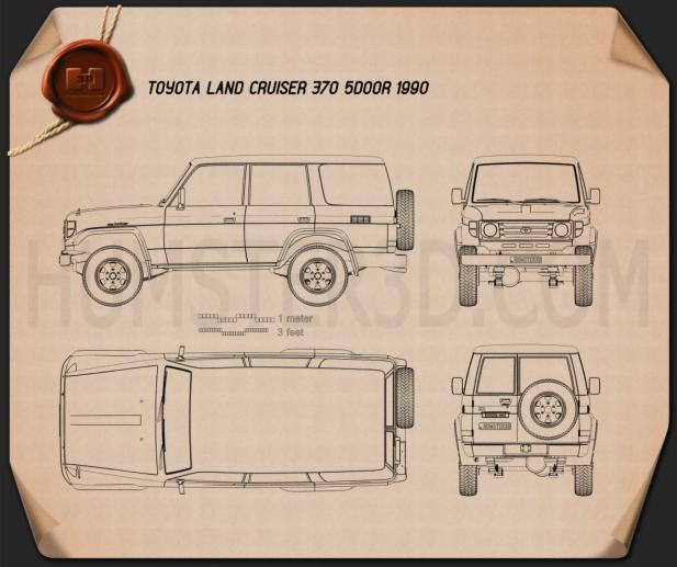 Toyota Land Cruiser (J70) 5-door 1990 Blueprint