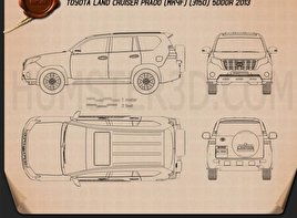 Download car blueprints for 3d modeling hum3d toyota land cruiser prado j150 5 door 2014 blueprint malvernweather Gallery