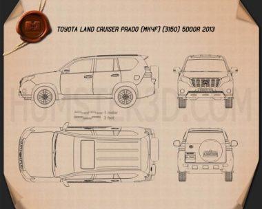 Toyota Land Cruiser Prado (J150) 5-door 2014 Blueprint