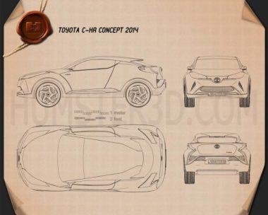 Toyota C-HR Concept 2014 Blueprint
