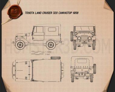 Toyota Land Cruiser (J20) softtop 1958 Blueprint