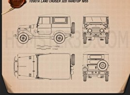 Toyota Land Cruiser (J20) hardtop 1955 Blueprint