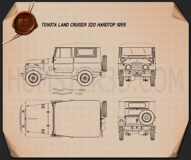 Toyota Land Cruiser (J20) hardtop 1955 Blueprint