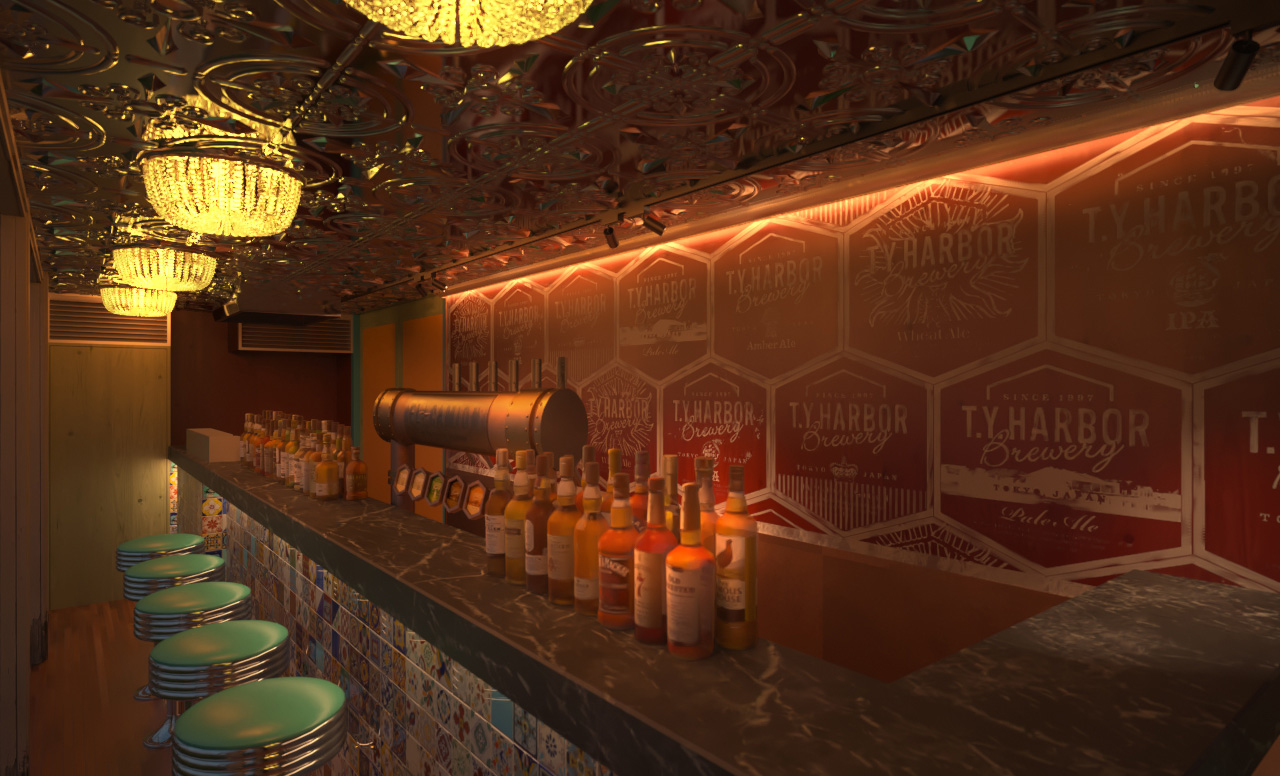 the interior of the bar was made a clean space