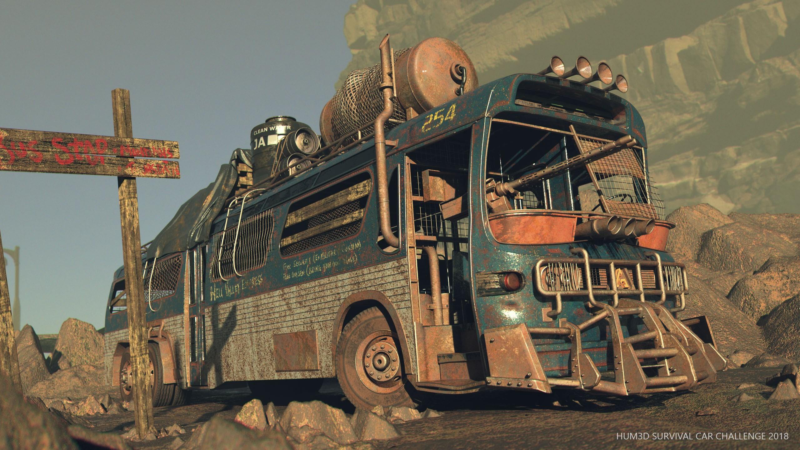 The Blue Bus 3d art
