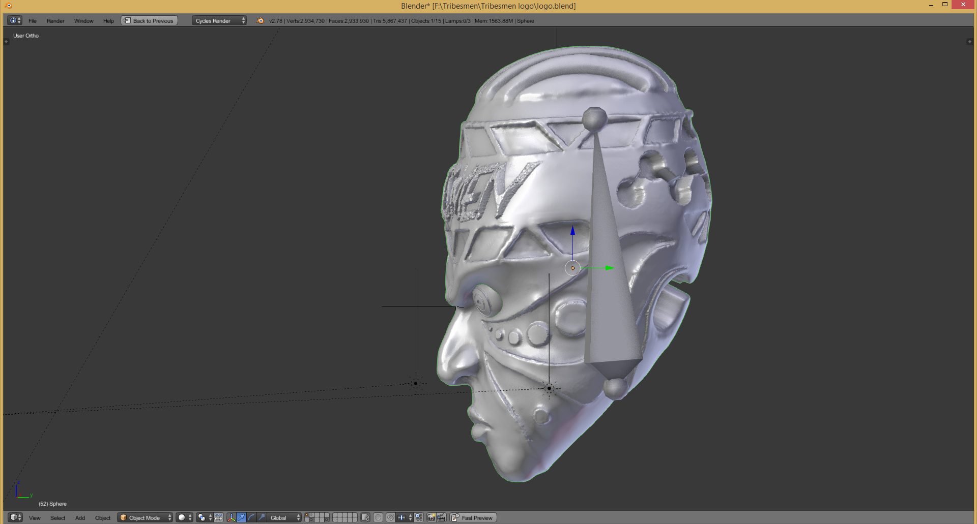 3d logo of a traditional african mask
