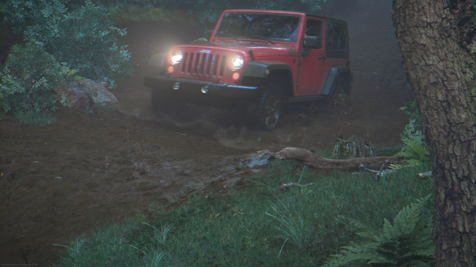 JEEP driving through muddy forest road 3d art