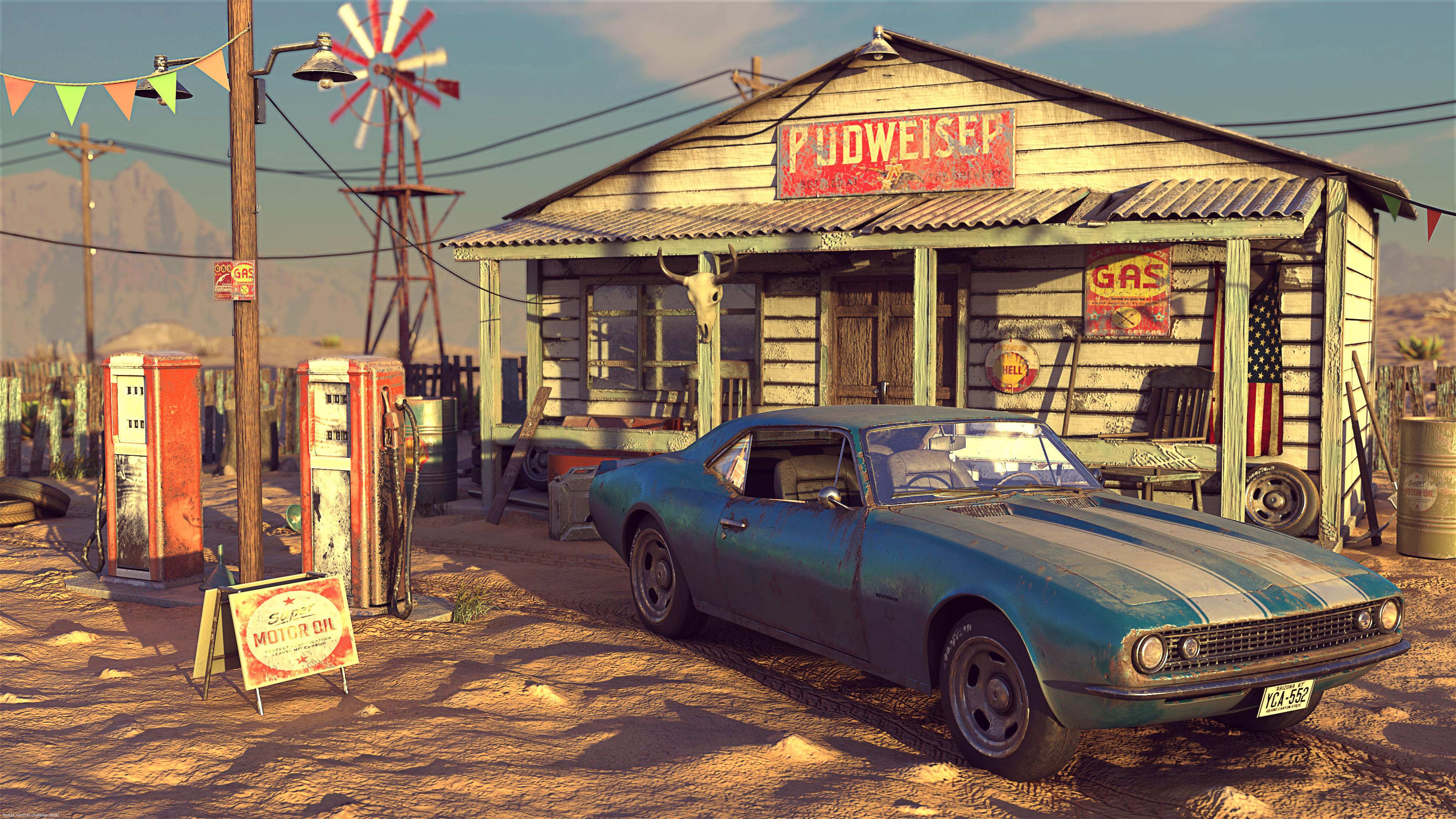 Desert Gas Station 3d art