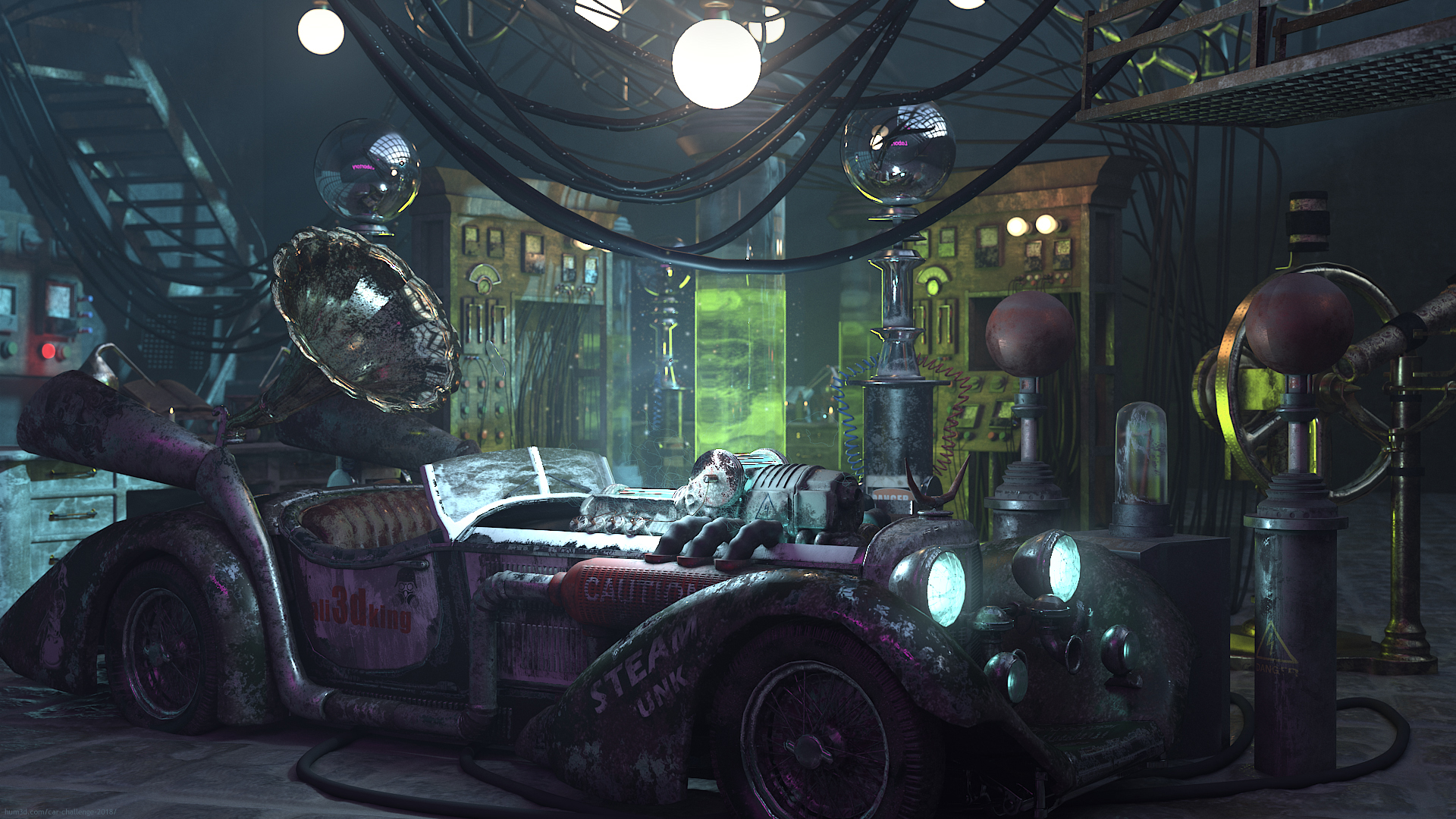 Fantasy Tesla Car 3d art