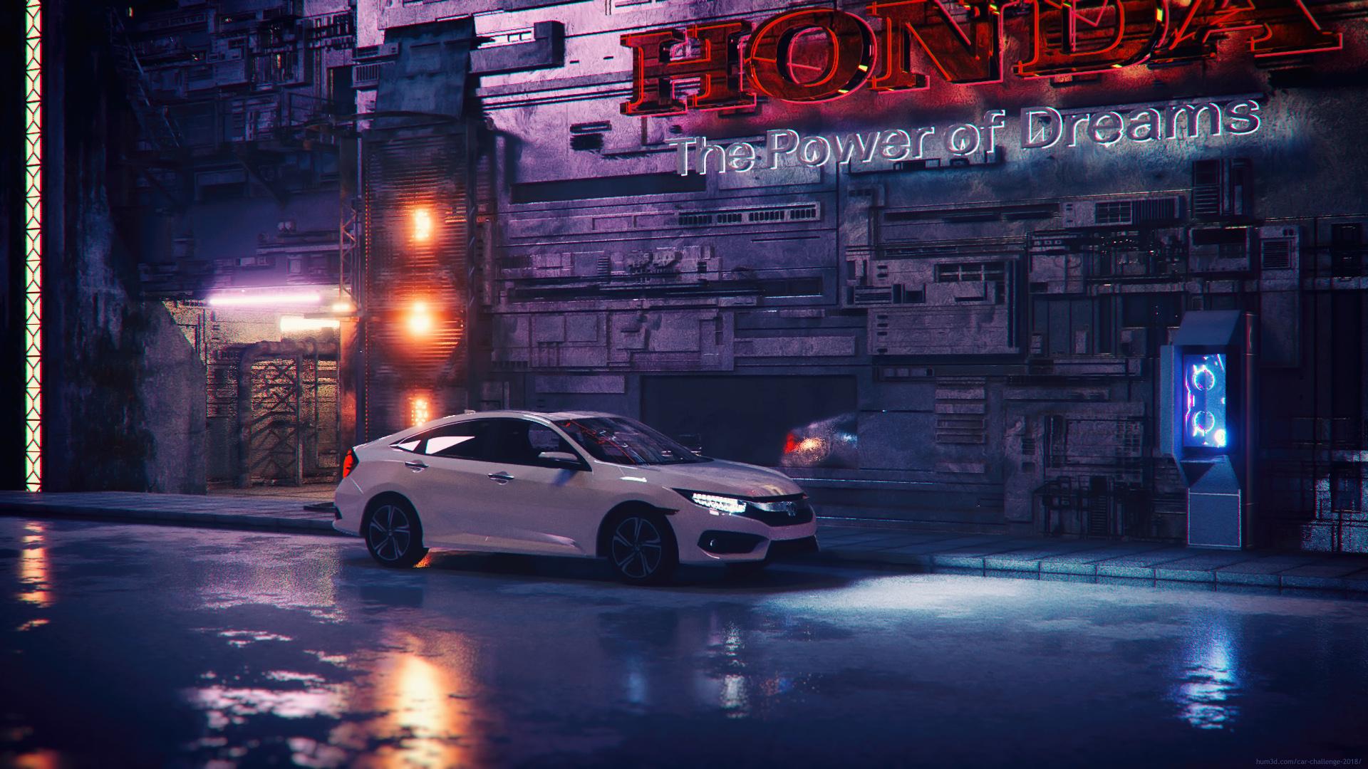 Honda Cyberpunk 3d art