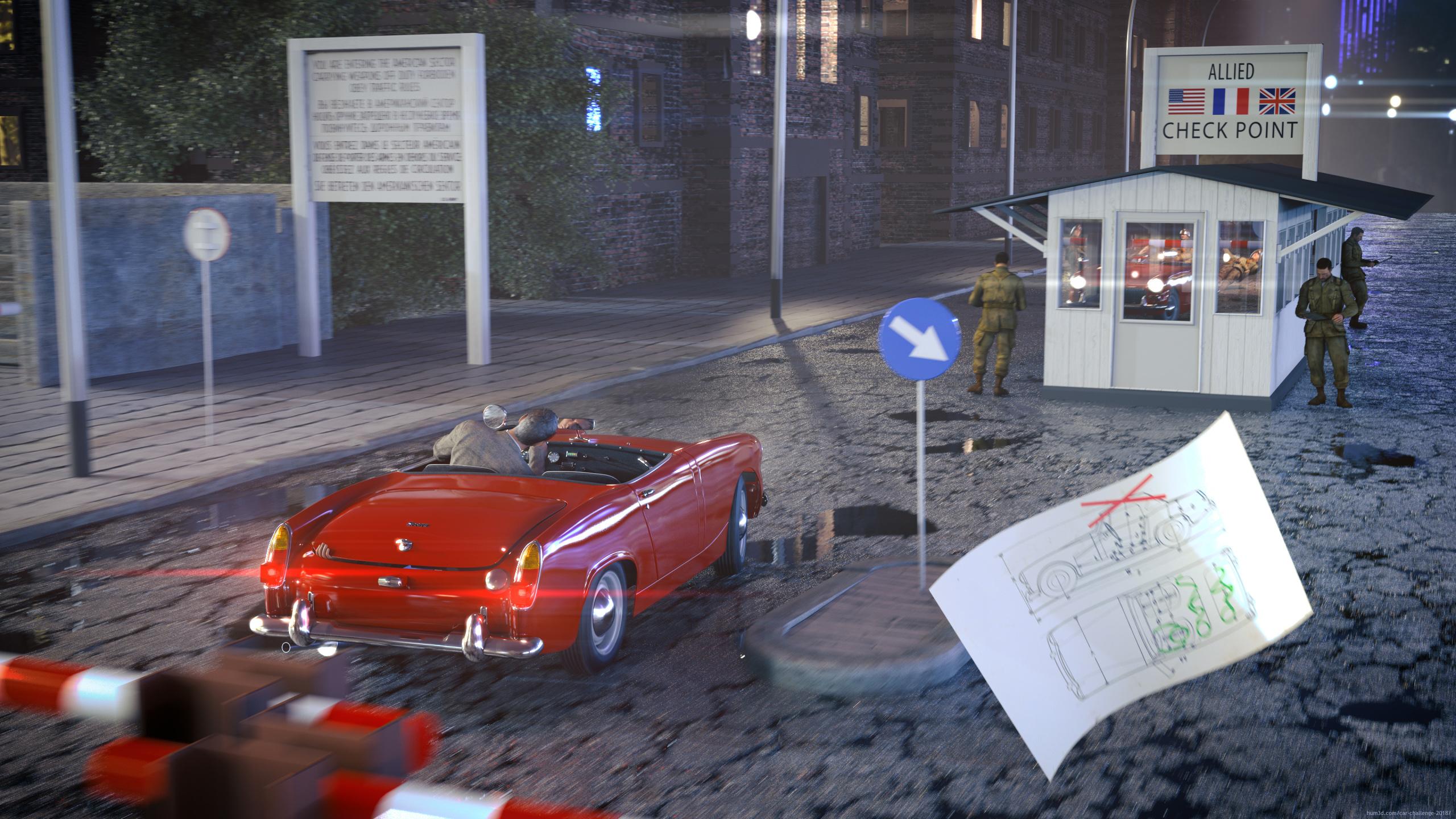 Austin Healey @ Checkpoint Charlie 3d art