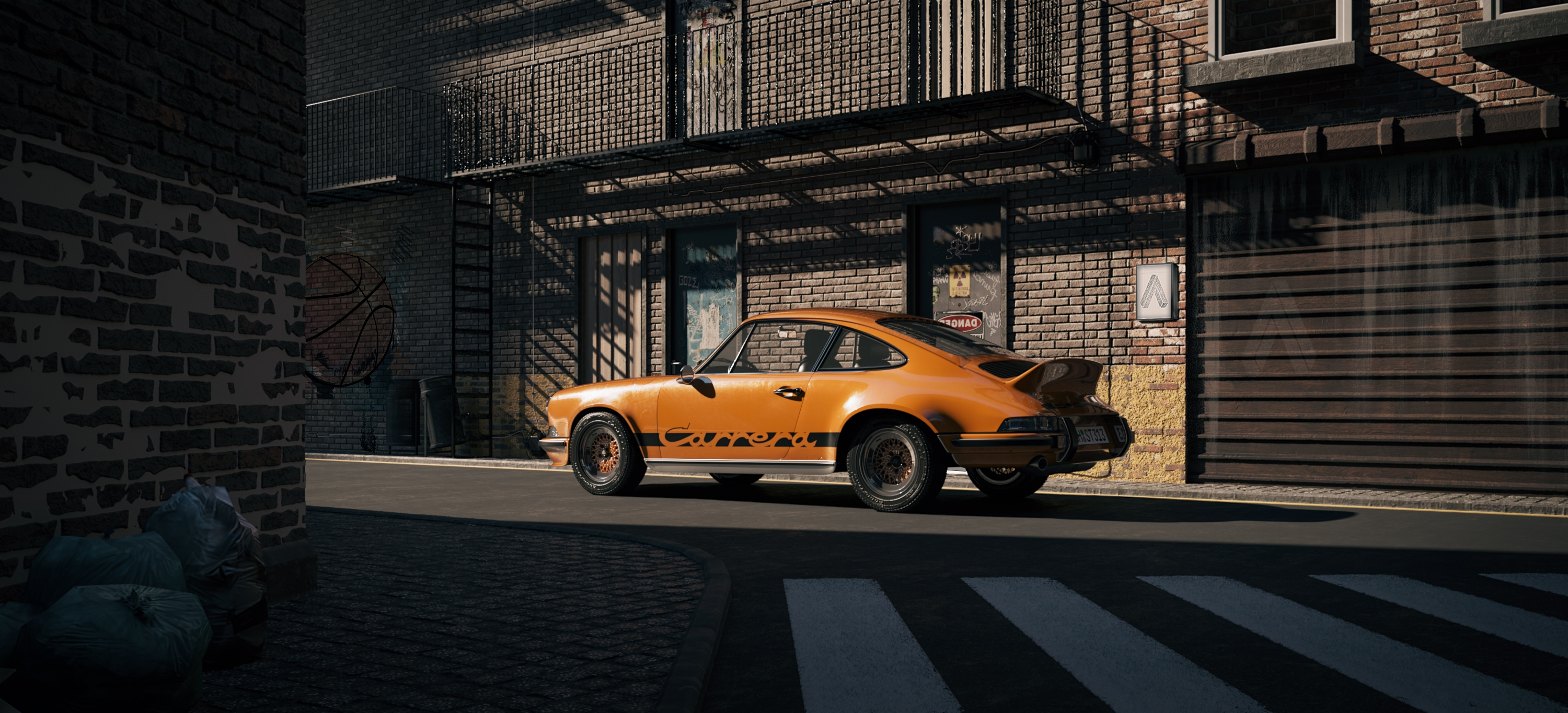 One day in suburbia - Porsche 911 RS 3d art