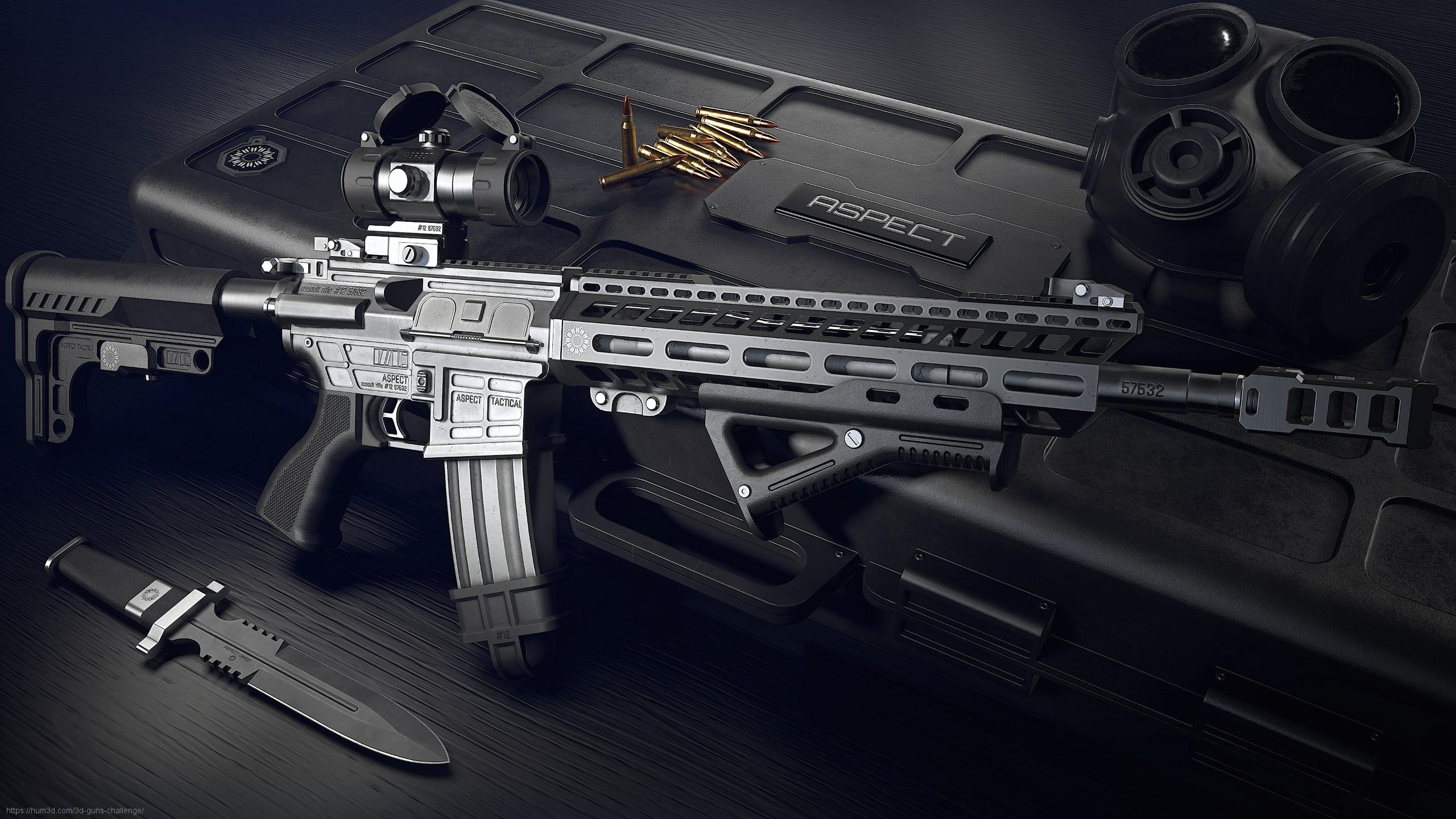 Aspect assault rifle 3d art