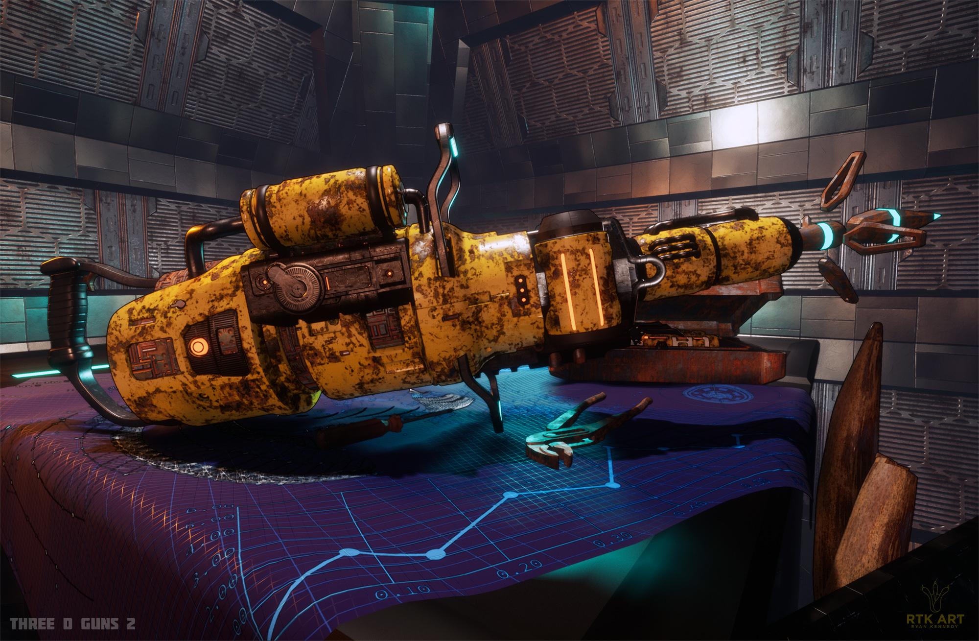 Space Whale Harpooner 3d art