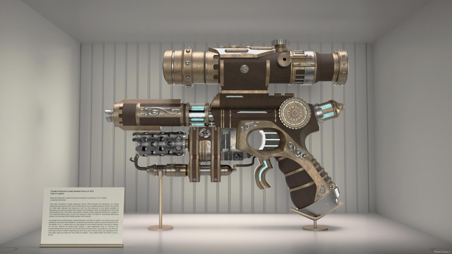 Plasma Operated Flamethrower Pistol of 1813-Fire of Liberty 3d art