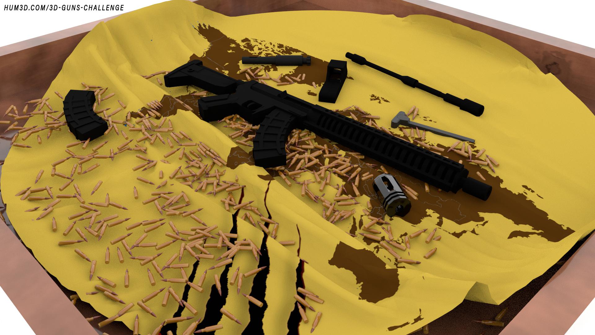 MK47 Rifle 3d art