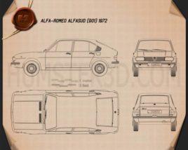 Alfa Romeo Alfasud 1972 Blueprint