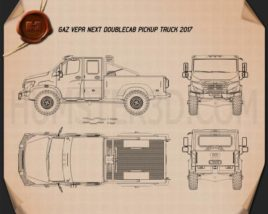 GAZ Vepr NEXT Double Cab Pickup Truck 2017 Blueprint