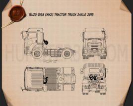 Isuzu Giga Tractor Truck 2-axle 2015 Blueprint