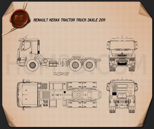 Renault Kerax Tractor Truck 2011 Blueprint