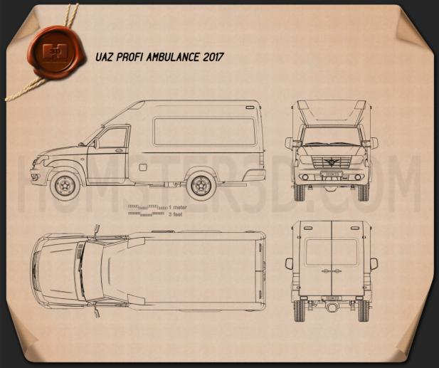 UAZ Profi Ambulance 2017 Blueprint