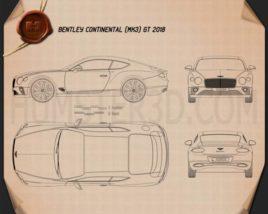Bentley Continental GT 2018 Blueprint