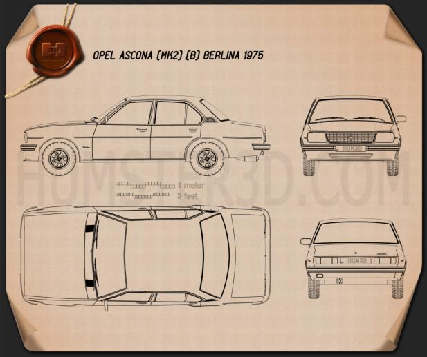 Opel Ascona berlina 1975 Blueprint