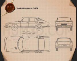 Saab 900 GLE combi 1979 Blueprint