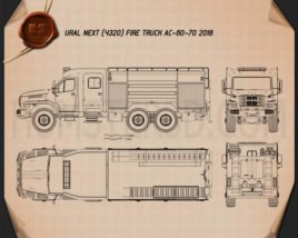 Ural Next Fire Truck AC-60-70 2018 Blueprint