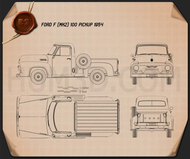 Ford F-100 Pickup 1954 Blueprint