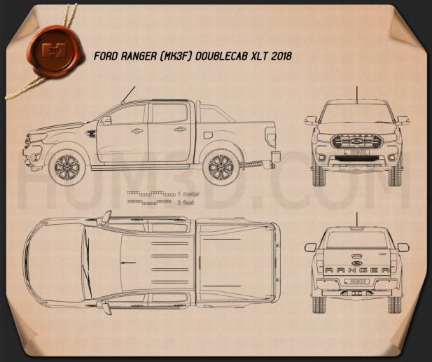 Ford Ranger Double Cab XLT 2018 Blueprint