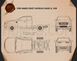 Ford Ranger Super Cab Chassis XL 2018 Blueprint