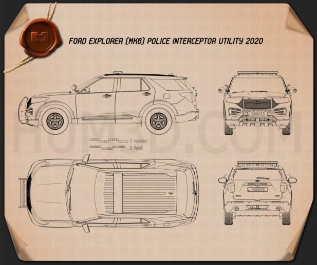 Ford Explorer Police Interceptor Utility 2020 Blueprint