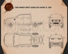 Ford Ranger Double Cab Chassis XL 2016 Blueprint