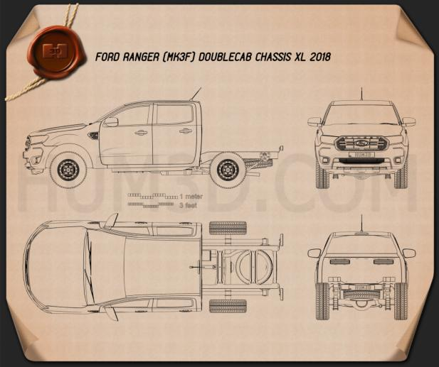Ford Ranger Double Cab Chassis XL 2018 Blueprint