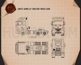 CNHTC Howo A7 Tractor Truck 2019 Blueprint