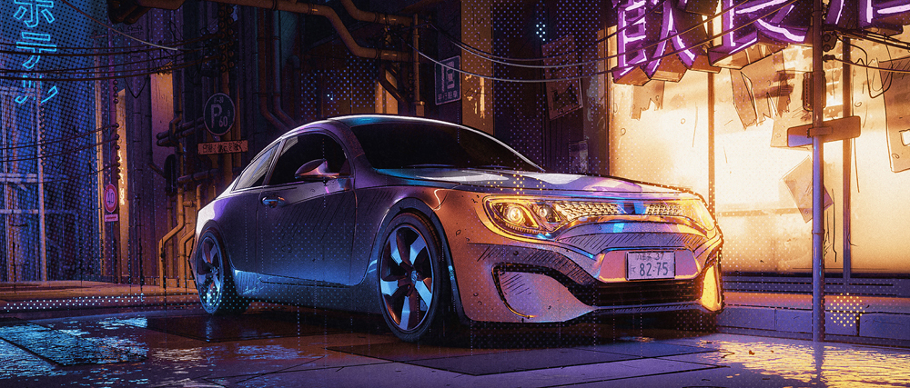 Neon Car by Lukas Walzer