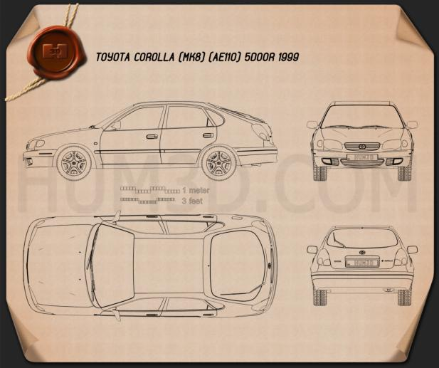 Toyota Corolla 5-door 1999 Blueprint
