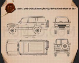Toyota Land Cruiser Prado Station Wagon SX 1993 Blueprint