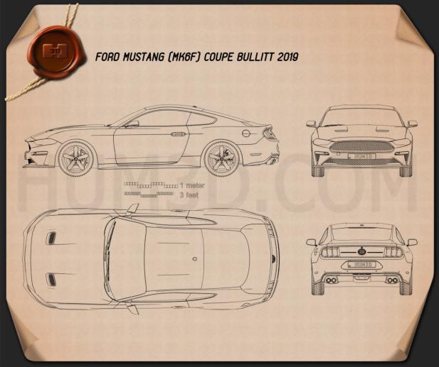 Ford Mustang Bullitt coupe 2019 Blueprint