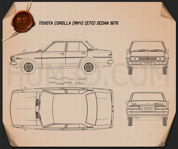 Toyota Corolla sedan 1979 Blueprint