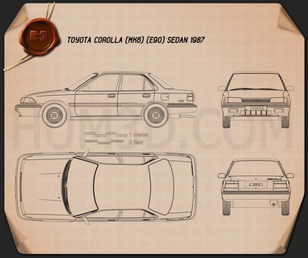 Toyota Corolla sedan 1987 Blueprint